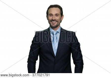 Smiling Caucasion Businessman In Suit. Cheerful Man Isolated On White Background.