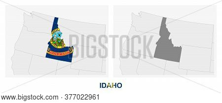 Two Versions Of The Map Of Us State Idaho, With The Flag Of Idaho And Highlighted In Dark Grey. Vect