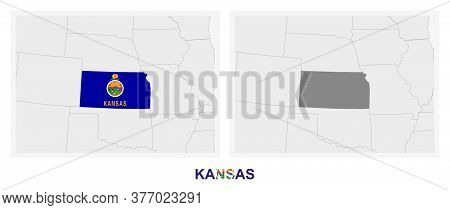 Two Versions Of The Map Of Us State Kansas, With The Flag Of Kansas And Highlighted In Dark Grey. Ve