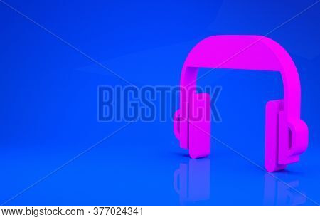 Pink Headphones Icon Isolated On Blue Background. Support Customer Service, Hotline, Call Center, Fa