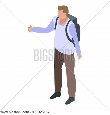 Man Adventure Hitchhiking Icon. Isometric Of Man Adventure Hitchhiking Vector Icon For Web Design Is
