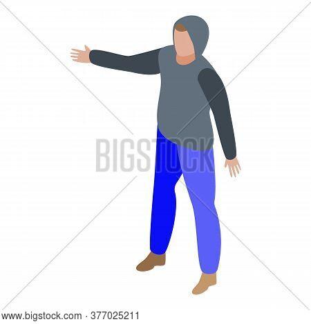 Hitchhiking Lifestyle Boy Icon. Isometric Of Hitchhiking Lifestyle Boy Vector Icon For Web Design Is