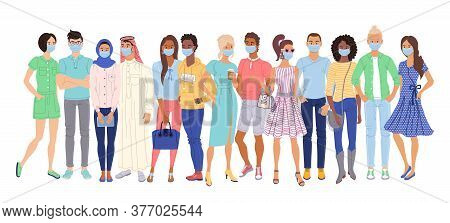 Multi Ethnic People In Protection Masks. Isolated Casual Men And Women Cartoon Character Group Stand