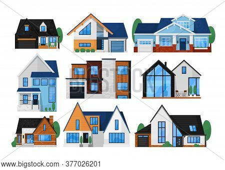 House Exterior Front Set. Isolated Residential City Building Icon. Modern Cottage House Exterior Fro