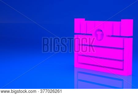 Pink Antique Treasure Chest Icon Isolated On Blue Background. Vintage Wooden Chest With Golden Coin.