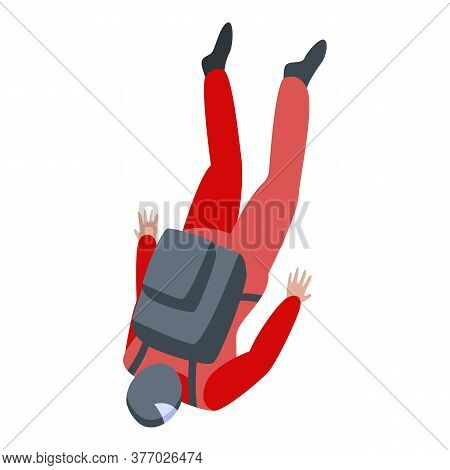 Parachuter Fall Icon. Isometric Of Parachuter Fall Vector Icon For Web Design Isolated On White Back