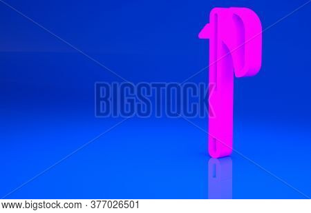 Pink Medieval Axe Icon Isolated On Blue Background. Battle Axe, Executioner Axe. Medieval Weapon. Mi