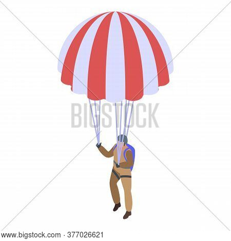 Extreme Parachuting Icon. Isometric Of Extreme Parachuting Vector Icon For Web Design Isolated On Wh