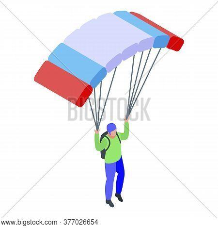 Jump Parachuter Icon. Isometric Of Jump Parachuter Vector Icon For Web Design Isolated On White Back