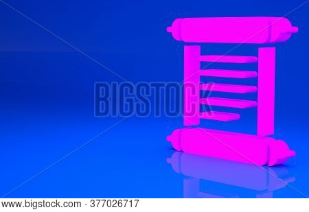 Pink Decree, Paper, Parchment, Scroll Icon Icon Isolated On Blue Background. Minimalism Concept. 3d