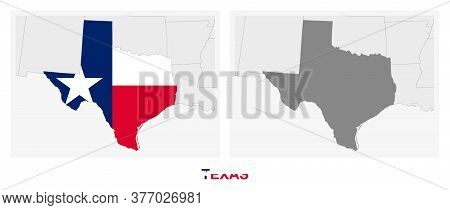 Two Versions Of The Map Of Us State Texas, With The Flag Of Texas And Highlighted In Dark Grey. Vect