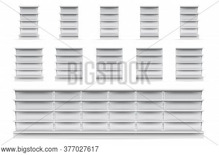 Shop Shelves Set. Isolated Empty Supermarket Store Showcase Shelve Icon Collection. Realistic Blank