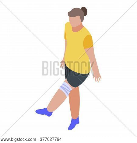 Girl With Leg Injury Icon. Isometric Of Girl With Leg Injury Vector Icon For Web Design Isolated On
