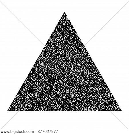 Black Triangle With White Doodle-style.interesting Unusual Ethnic Frame.simple Doodles.vector Isolat