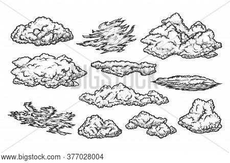 Cloud Sketch Set. Isolated Sky Cirrus And Cumulus Cloud Sketch Hand Drawing Flat Icon Collection. Ve