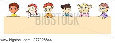 Kids Portrait. Group Of Smart Cartoon Kids Standing Or Sitting Behind Blank Placard With Place For A