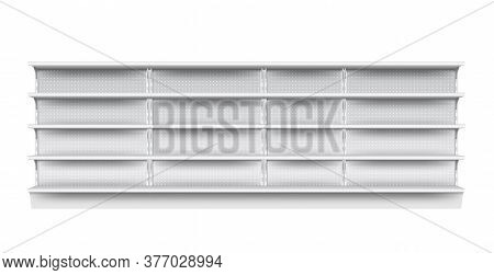 Supermarket Shelf. Isolated Empty Supermarket Store Showcase Shelf Icon. Realistic Blank Grey Metal