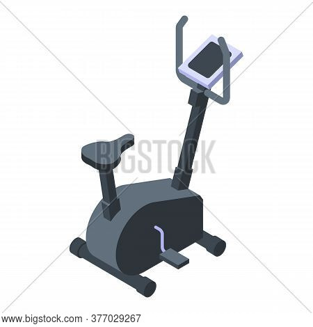 Fitness Exercise Bike Icon. Isometric Of Fitness Exercise Bike Vector Icon For Web Design Isolated O