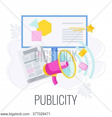 Publicity Infographics Icon. Awareness For Product, Service Or Company. Public Relations, Pr And Str
