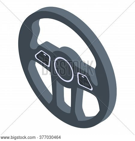 Steering Wheel Icon. Isometric Of Steering Wheel Vector Icon For Web Design Isolated On White Backgr