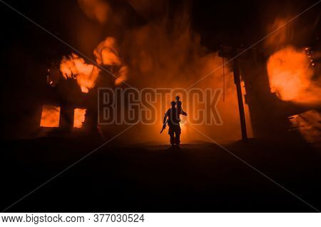 Two Homeless Little Girl Walking In Destroyed City, Soldiers And Helicopters And Tanks Are Still Att