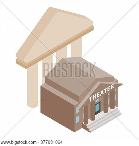 Theatre Building Icon. Isometric Illustration Of Theatre Building Vector Icon For Web