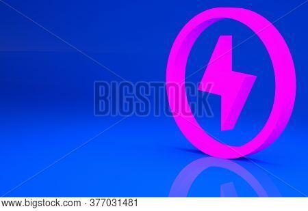 Pink Lightning Bolt Icon Isolated On Blue Background. Flash Sign. Charge Flash Icon. Thunder Bolt. L