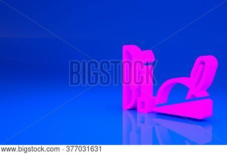 Pink Robin Hood Hat With Feather, Bow And Arrow Icon Isolated On Blue Background. Minimalism Concept