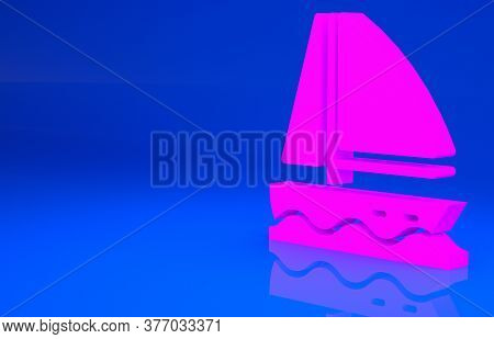 Pink Yacht Sailboat Or Sailing Ship Icon Isolated On Blue Background. Sail Boat Marine Cruise Travel