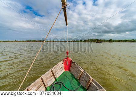 Touristic Boat Bow Navigating In Albufera, Valencia