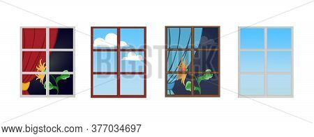 A Set Of Window Frames With A Flower On The Windowsill. Reflection Of A Sunny Day In The Glass. The