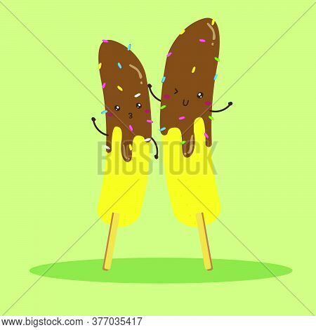 Cute Happy Banana Stick Dip On Chocolate Vector Design, Can Be Use To Make Poster