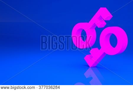 Pink Cryptocurrency Key Icon Isolated On Blue Background. Concept Of Cyber Security Or Private Key,