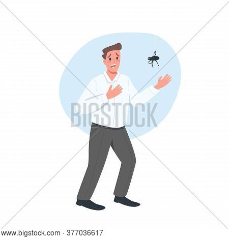 Scared Of Spider Male Flat Color Vector Detailed Character. Man Terrified Of Bug. Expression Of Fear
