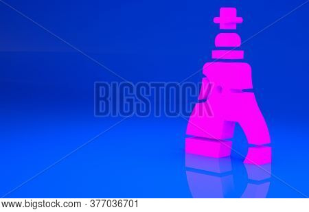 Pink The Tsar Bell In Moscow Monument Icon Isolated On Blue Background. Minimalism Concept. 3d Illus