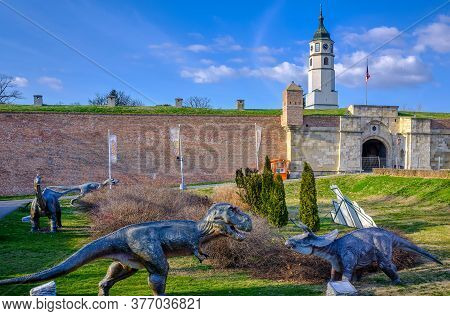 Belgrade / Serbia - February 22, 2020: Jurassic Adventure Dinosaurs Themed Park In Belgrade Fortress