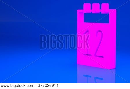 Pink Calendar 12 June Icon Isolated On Blue Background. Russian Language 12 June Happy Russia Day. M