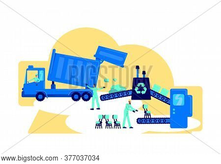 Waste Processing Flat Concept Vector Illustration. Sorting Rubbish For Environmental Protection. Rec