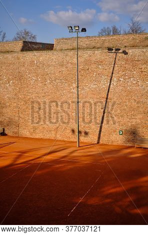Belgrade / Serbia - February 22, 2020: Tennis Court At Belgrade Fortress, Kalemegdan Park In Belgrad