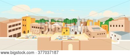Ancient Arab City Flat Color Vector Illustration. Traditional Arabic Buildings Panorama. Touristic L