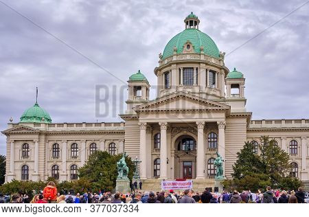 Protest Of Serbian War Veterans In Front Of The National Assembly Of Serbia