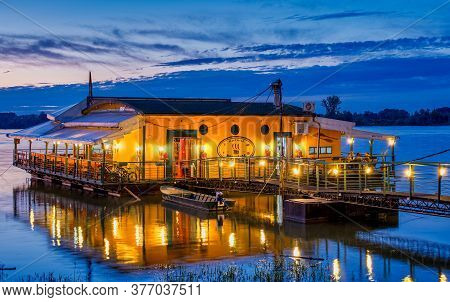 Belgrade / Serbia - February 22, 2020: Evening View Of River Raft Restaurant And Bar On The Danube R