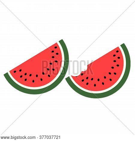 Watermelon Icon. Slices Of Ripe Watermelon Cartoon Vector Illustration.