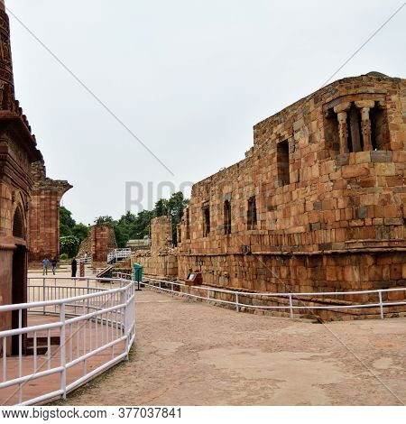 Qutub Minar New Delhi, India, The Tallest Minaret In India Is A Marble And Red Sandstone Tower That