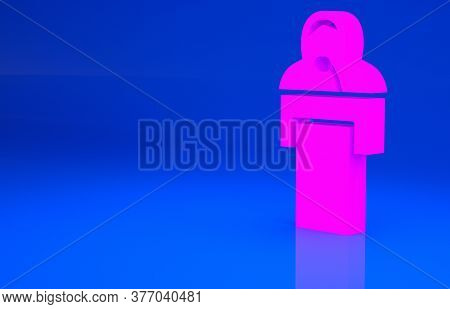 Pink Gives Lecture Icon Isolated On Blue Background. Stand Near Podium. Speak Into Microphone. The S