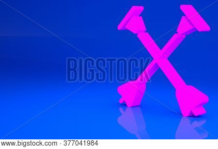 Pink Arrow With Sucker Tip Icon Isolated On Blue Background. Minimalism Concept. 3d Illustration. 3d