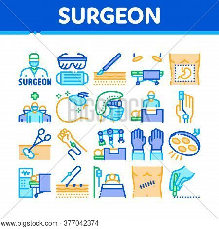 Surgeon Medical Doctor Collection Icons Set Vector. Surgeon Facial Mask And Glasses, Scalpel And For