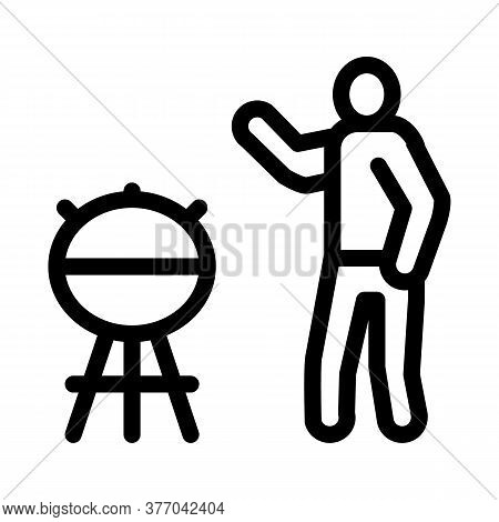 Human Cooking Bbq Icon Vector. Human Cooking Bbq Sign. Isolated Contour Symbol Illustration