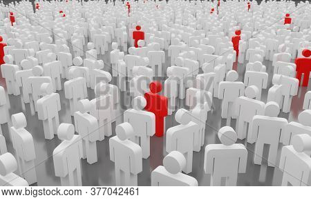 Social Distance Concept. Too Many People With Infected Man Symbolizing A Contagious Epidemic Of Covi