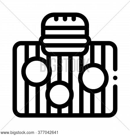 Bbq Meat For Burger Icon Vector. Bbq Meat For Burger Sign. Isolated Contour Symbol Illustration